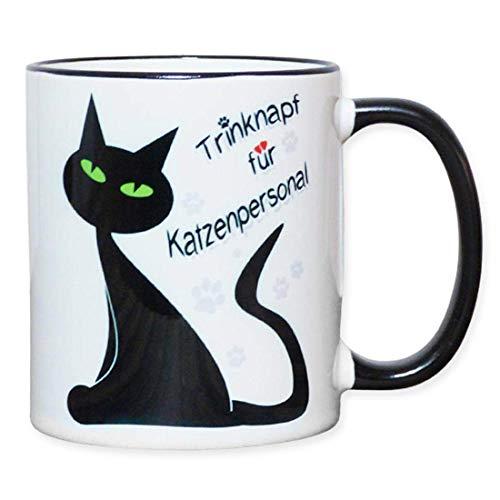Fördeblau Lustige Katzentasse mit Spruch | Zweifarbiger Katzenbecher mit Katzenmotiv | Tasse aus Keramik | Tolles Geschenk