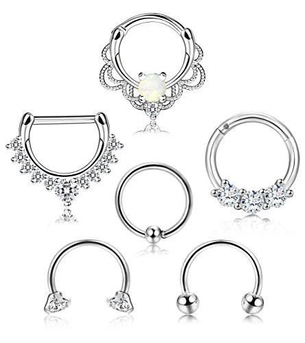 ORAZIO 6PCS 16G 316L Stainless Steel Septum Hoop Nose Ring Horseshoe Rings Cartilage Clicker Piercing Jewelry Sliver-Tone