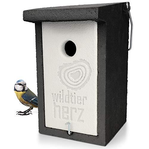 wildtier herz | Holzbeton Nistkasten für Blaumeisen & Co. – Wetterfeste Nisthöhle mit 28 mm Einflugloch, Vogelhaus & Brutkasten für Meisen