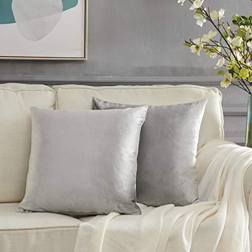 Gigizaza Kissenbezug 45x45 cm Grau Kissenhülle Samt Kissenbezüge Zierkissenbezug Dekokissen für Sofa Schlafzimmer Wohnzimmer 2er Set
