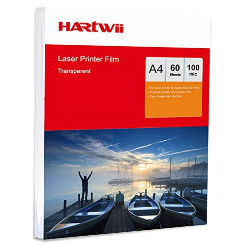 OHP Film A4 Overhead Projector - 60 Sheets Acetate Clear for Laser & Copier Printing Jet Hartwii