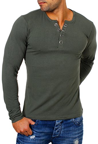 Young & Rich Herren Longsleeve Langarm T-Shirt Knopfleiste mit extra großen Metall Knöpfen Slimfit Big Buttons 2872, Grösse:XL;Farbe:Militär-Grün