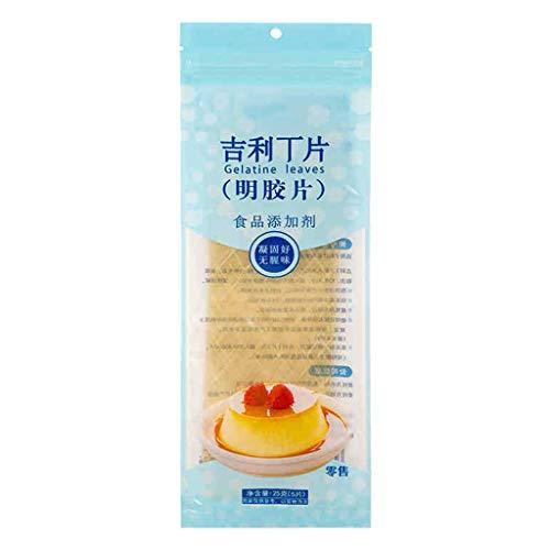 HEYXI Ingredientes para Hornear Hoja de Hoja de Plata Hojas de gelatina sin Sabor para cocinar Barra de Ingredientes para Hornear