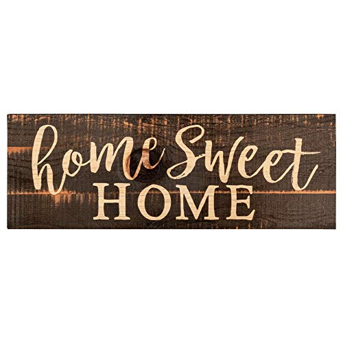 P. Graham Dunn Home Sweet Home Script Design Black Distressed 15.75 x 5.5 Inch Solid Pine Wood Plank Wall Plaque Sign