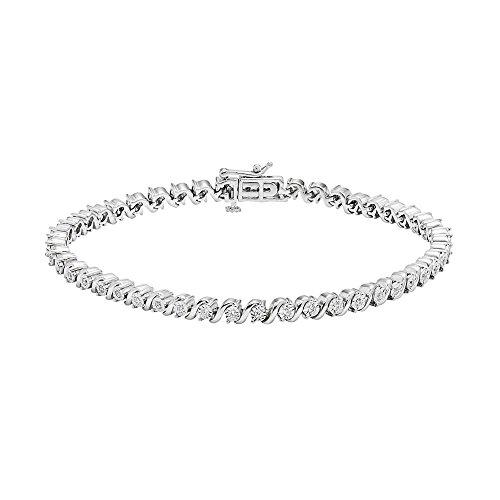 Silvernshine Jewels 1/3ct taglio rotondo SIM diamante Swirl bracciale tennis in oro bianco massiccio 14K over e Argento, colore: White, cod. SNSBR224_6.5