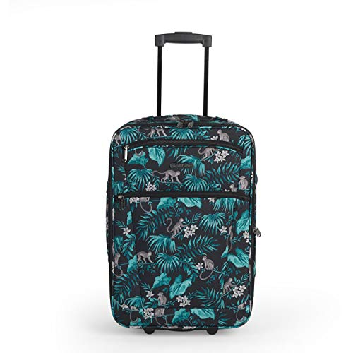 Constellation LG007314PCMONFSDIR2 21 Inch Eva Cabin Suitcase | Carry Handles | Push Button Trolley Mechanism | Polyester | Monkey Print