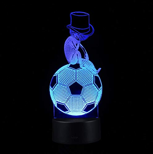Ambient Light Acrylic 3D Illuminated LED Lamp Optical Illusion Desk Night Light, 7 Color Changing, Remote Control with USB Cable G. (Color : Black)