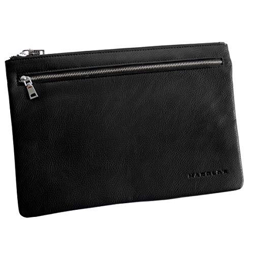 Harolds - Banktasche Geldtasche Scheckbuch Dokumententasche Reisepasstasche (Schwarz - Groß) - präsentiert von ZMOKA®