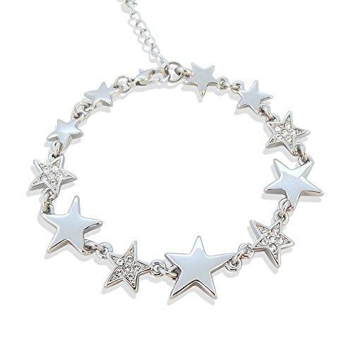 nobel-schmuck Armband Stern mit Kristallen von Swarovski® Silber