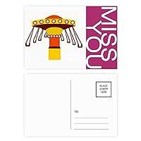 カラーイラストの遊園地施設 ポストカードセットサンクスカード郵送側20個ミス