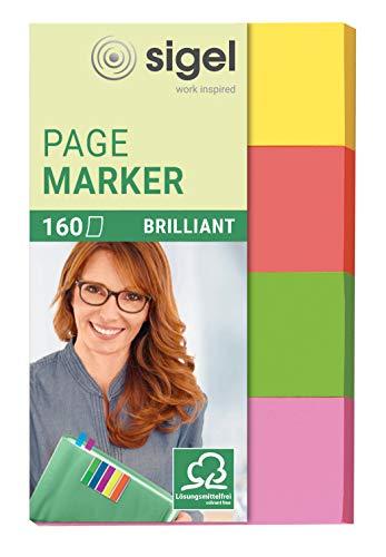 SIGEL HN630 Haftmarker aus Papier, 4 Farben, 160 Streifen im Format 20 x 50 mm
