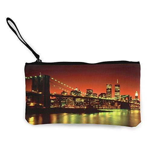 Moneda de lona, bolso de la ciudad de Nueva York con cremallera, bolsa de cosméticos multifunción para el teléfono móvil, bolsa de lápiz con asa