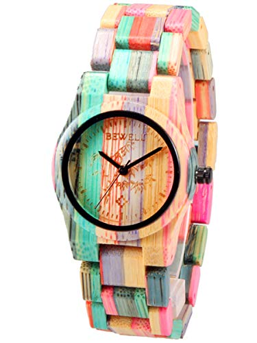 Alienwork Multicolor Damenuhr Natural Bamboo Wood Bracelet Handmade