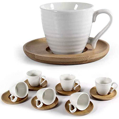 BAKAJI Servizio Set da 6 Tazzine da caffè Tazzina in Ceramica Bianca con Piattino in Legno di bambù Colore Naturale Design Moderno