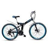 ZHJBD Worth Having - Bicicleta de montaña Plegable Unisex Mini Mini Bicicleta de aleación Ligera para Hombres para Hombres Mujeres con Asiento Ajustable Sillín, Aluminio, Frenos de Disco
