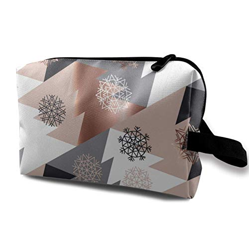 XCNGG Reise Make-up Aufbewahrungstasche Tragbare Toilettenhandtasche Kleine Kosmetik-Organizer-Tasche für Frauen & Männer Roségold Abstrakte Weihnachtsbaum-Geometrie