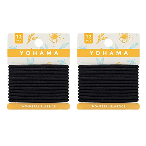 YOHAMA 24 Pcs Black Elastic Hair Ties, Best for Men Women Ponytail Holders Medium to Thick Hair for High Sport Performance, Non-metal.(4mm)