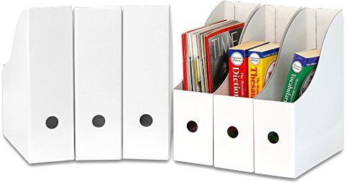 Simple Houseware White Magazine File Holder Organizer Box (Pack of 6)