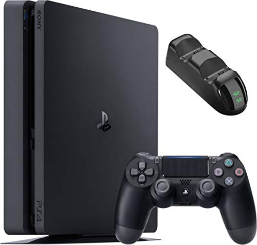 Sony Playstation 4 1TB Console - Black PS4 Slim Edition with 1TB Storage, one DS4 Wireless Controller and GalliumPi Dual PS4 Controller Charging Dock Bundle