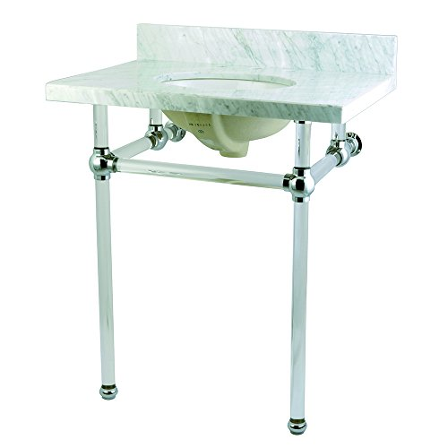 Kingston Brass KVPB30MA1 Fauceture Templeton Console Sink with Acrylic Pedestal, 30