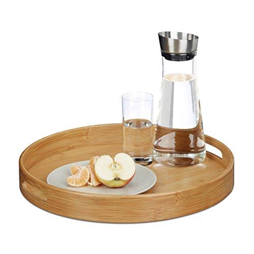 Relaxdays Serviertablett Bambus rund, erhöhter Rand, Gastrotablett, Grifflöcher, HxBxT: 5 x 38,5 x 38,5 cm, Holz, natur