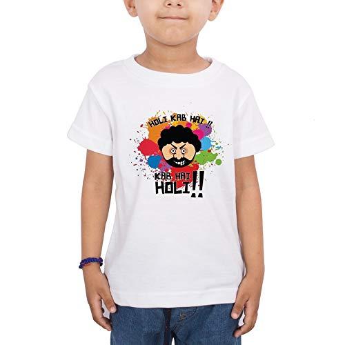 LIMIT - Holi Kab Hai Printed Kids T-Shirt for Holi Festival Regular Fit Stylish Poly Cotton Fabric Tshirt for Boys & Girls Kids Casual Wear(5-6 Years) White