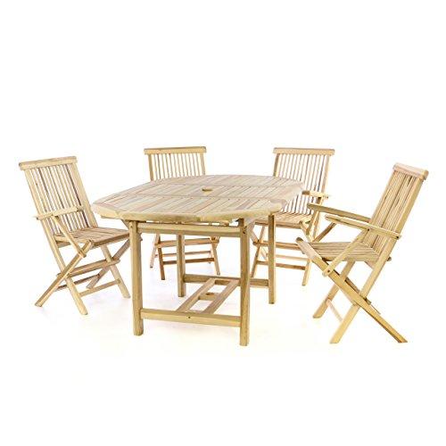 Divero Gartenmöbel-Set Terrassenmöbel-Garnitur Sitzgruppe – Esstisch 120/170 cm ausziehbar & 4 x Klappstuhl mit Armlehne – Teakholz massiv Natur