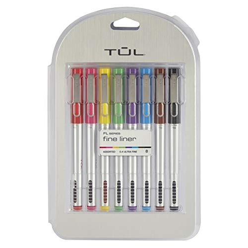 TUL Fine Liner Porous-Point Pens, Ultra-Fine, 0.4 mm, Silver Barrel, Assorted Ink Colors, Pack of 8 Pens