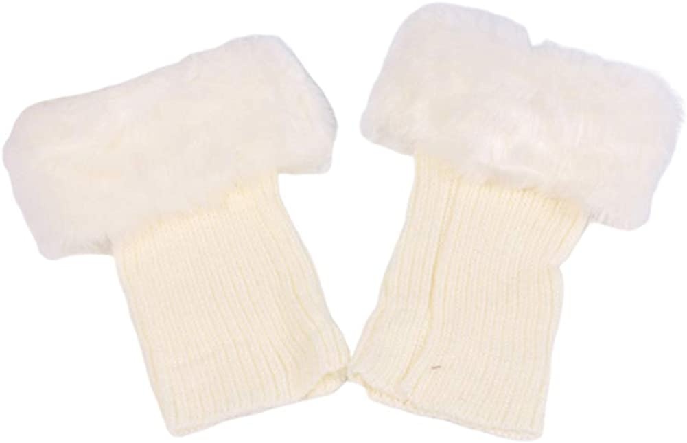 Academyus Women's Solid Color Faux Fur Crocheted Legs Warm Cuffs Tops Boots Socks