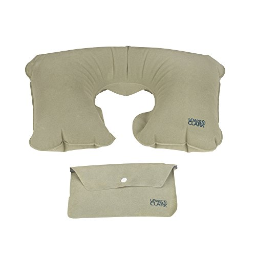 Lewis N. Clark Original Neckrest Inflatable Pillow, Waterproof Neck Pillow for Neck Support at the Beach, Pool + Airport Travel with Fully Adjustable Firmness and Included Carrying Pouch, Grey