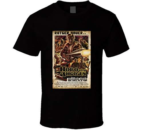 FUDAO T-Shirt Hobo with A Shotgun Best Movie Poster Since 2010 Movie Lovers Distressed Look Schwarz Gr. L, Schwarz