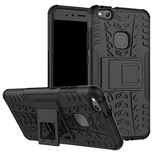 pinlu Custodia per Huawei P10 Lite Smartphone Armatura Rugged Heavy Duty Cover Doppio Strato TPU + PC Antiurto Protettiva Case Pneumatico Modello Nero