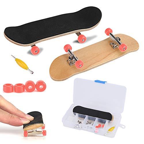 Fingerboard Finger Skateboards, Mini diapasón, Patineta de dedos profesional Maple Wood DIY Assembly Skate Boarding Toy Juegos de deportes Kids(Rojo)