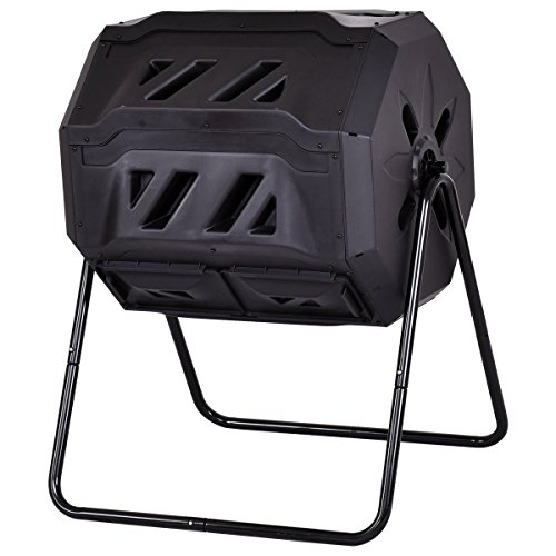 Purchase Goplus Compost Tumbler Outdoor Garden Waste Bin Grass Food Trash Fertilizer Barrel Black (4...