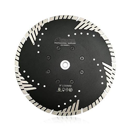 SHDIATOOL Disco de Corte de Diamante 230mm x M14 Hoja de Sierra con Turbo Slant Protection Dientes para Ladrillo Azulejos Cerámica Mármol Granito