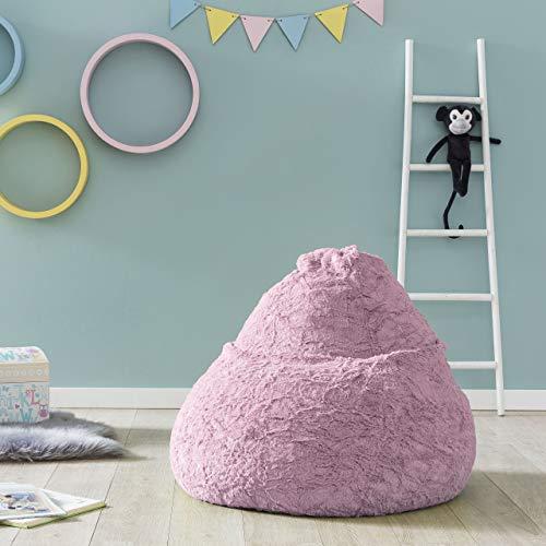 Lumaland Fluffy Sitzsack stylischer Webplüsch Beanbag 120L Füllung Pastel Pink