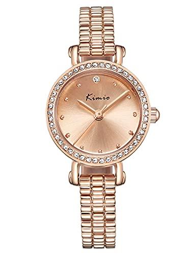 Alienwork Reloj Mujer Oro Rosa Pulsera de Metal Acero Strass Elegante