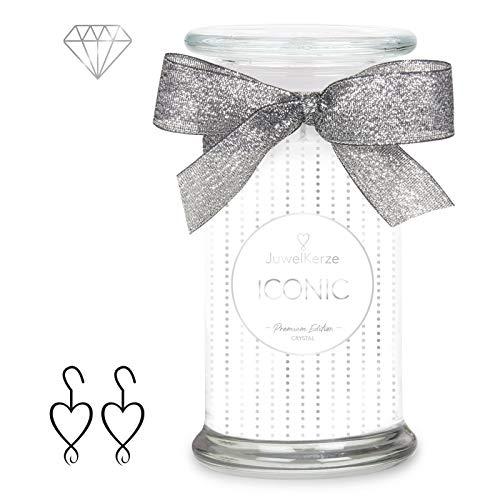 JuwelKerze 'Iconic' (Ohrringe) Schmuckkerze große weiß Duftkerze 925 Sterling Silber, besetzt mit edlen Swarovski Kristallen - Kerze mit Schmucküberraschung als Geschenk für sie