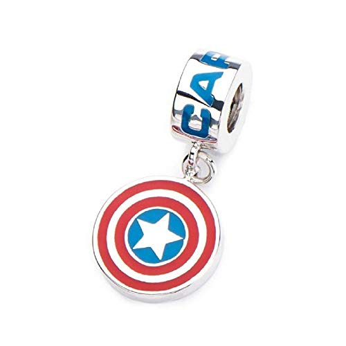 925 Sterling Silver & Enamel Captain America Shield Dangle - Officially Licensed Charm