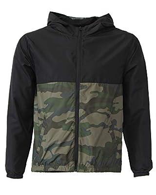 Global Kid's Hooded Lightweight Windbreaker Rain Jacket Water Resistant Shell (Large, Black/Camo)