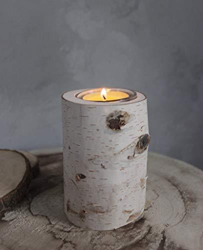 Generisch Herzensstücke aus Birke: Teelichthalter aus Birke 4er-Set handgefertigt aus Norwegen Tischdekoration Weihnachtsdekoration Hochzeitsdekoration (H: 10 cm, D: 7cm) Glas und Teelicht inklusive