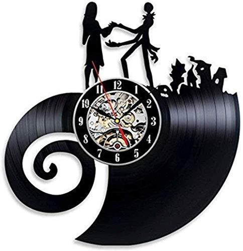 xiadayu Reloj de Pared de Vinilo Evolución de Vinilo Pesadilla Antes de Navidad Reloj de Pared de Amor Led 7 Colores