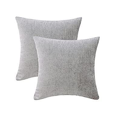 HWY 50 Cotton Linen Soft Comfortable Natural Soild Decorative Throw Pillow Covers Set Cushion Case for Couch Sofa Bed Living Room Grey Gray 20 x 20 Inches 50 x 50 cm Pack of 2