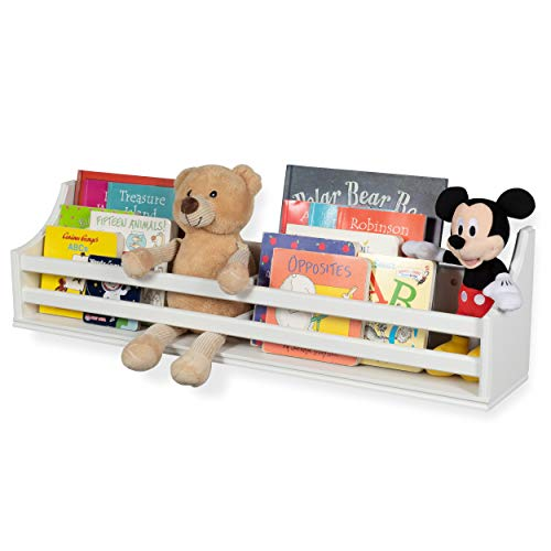 brightmaison White Wooden Bunk Bed Wall Shelf Bookcase and Bedside Storage for Children's Kids Room Storage Decor Hanging Bookshelf Fully Assembled