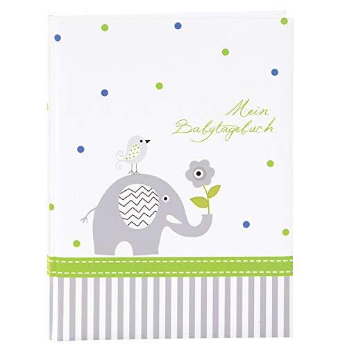 goldbuch 11329 Babytagebuch Babyworld Wal, 21 x 28 cm, Tagebuch für Neugeborene, Baby Erinnerungsalbum mit 44 illustrierte Seiten, Einband mit Kunstdruck laminiert, Album in Weiß / Blau