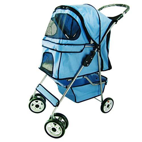 Hond rolstoel Outdoor Travel Lichtgewicht Draagbare Quick-Fold Kleine Wandelwagen, Schokabsorptie, Grote Opbergmand, Blauw