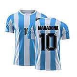 Camiseta de fútbol Retro 1986 Argentina Maradona NO.10, Camiseta Conmemorativa de Entrenamiento Deportivo de fútbol para fanáticos del Equipo Nacional para Hombres (XXL)