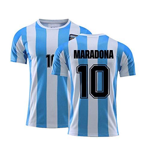 Camiseta de fútbol Retro 1986 Argentina Maradona NO.10, Camiseta Conmemorativa de Entrenamiento Deportivo de fútbol para fanáticos del Equipo Nacional para Hombres (L)
