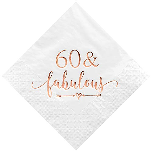 Crisky 60 and Fabulous Cocktail Napkins Rose Gold for Women 60th Birthday Decorations, 60th Birthday Bevergae Dessert Table Supplies, 50Pcs, 3-Ply