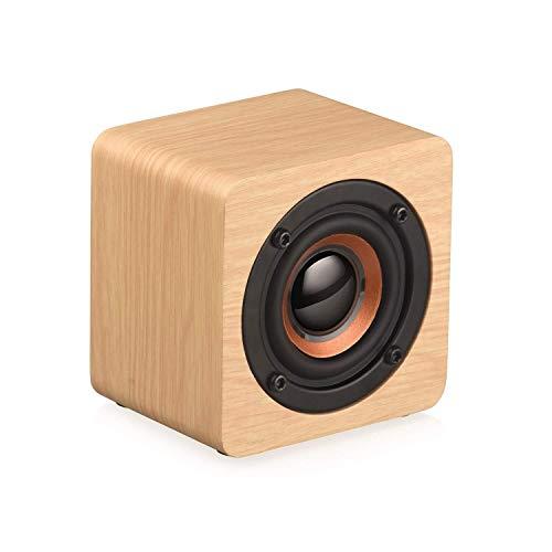 XFSE Mini-Bluetooth-Lautsprecher Aus Holz, Tragbarer Drahtloser Stereo-Bluetooth-Lautsprecher Mit 3 W Und 4,2 Lautsprechern Musik-Player Im Freien Einzelnes Horn Heim, Beige/Braun (Color : Beige)
